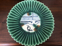 Green hand crafted plate